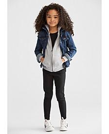 Little Girls Denim Jacket, Hoodie & Leggings