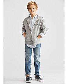 Polo Ralph Lauren Little Boys Zip-Up Hoodie, Oxford Shirt & Slim-Fit Mott Jeans