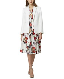 Tahari ASL One-Button Blazer, Printed Blouse & Pleated Skirt