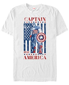 Marvel Men's Comic Collection Captain America Patriotic Stance Short Sleeve T-Shirt