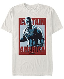 Marvel Men's Avengers Endgame Captain America Red Poster Short Sleeve T-Shirt