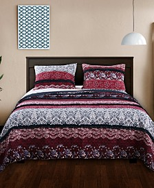 Greenland Home Fashions Monroe Quilt Set, 3-Piece King