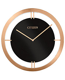Citizen Gallery Black & Rose Gold-Tone Metal Wall Clock