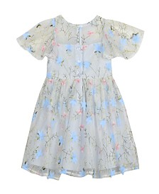 Laura Ashley London Girl's Embroidered Mesh Dress