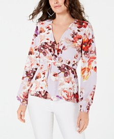 GUESS Juniors' V-Neck Faux-Wrap Top
