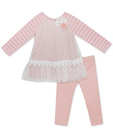 Rare Editions Baby Girls 2-Pc. Clip-Dot Mesh Top & Dot-Print Pants Set