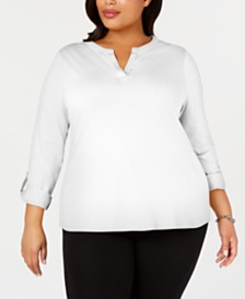 Charter Club Plus Size Supima® Cotton Split-Neck Top, Created for Macy's