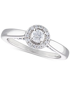 Certified Diamond Halo Engagement Ring (1/2 ct. t.w.) in 14k White Gold