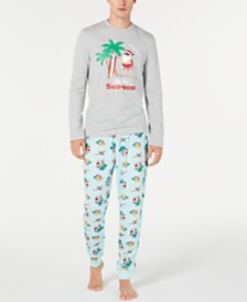 Matching Family Pajamas Men's Tropical Santa Pajama Set, Created for Macy's