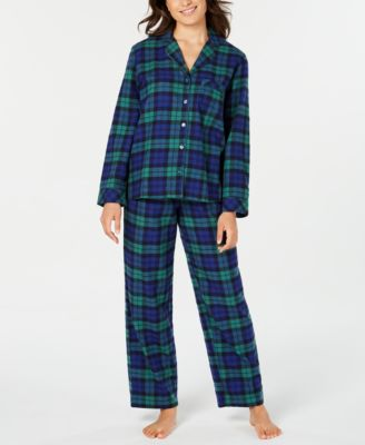 Matching Women's Black Watch Plaid Flannel Pajama Set, Created For Macy's