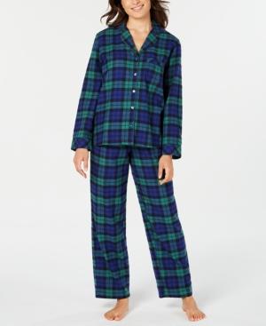 Women's Black Watch Plaid Flannel Pajama Set