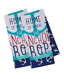 Design Imports Anchor Home Printed Dishtowel Set of 2