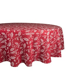 "Design Imports Holly Flourish Jacquard Table Cloth 70"" Round"