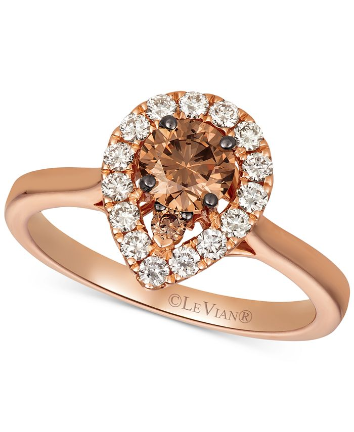 Le Vian - Chocolate Diamond (1/2 ct. t.w.) & Nude Diamond (1/3 ct. t.w.) Ring in 14k Rose Gold & 14k White Gold