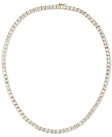 "Cubic Zirconia 18"" Tennis Necklace in Sterling Silver"