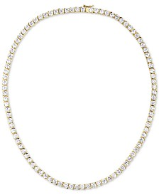 "Tiara Cubic Zirconia 18"" Tennis Necklace in Sterling Silver"