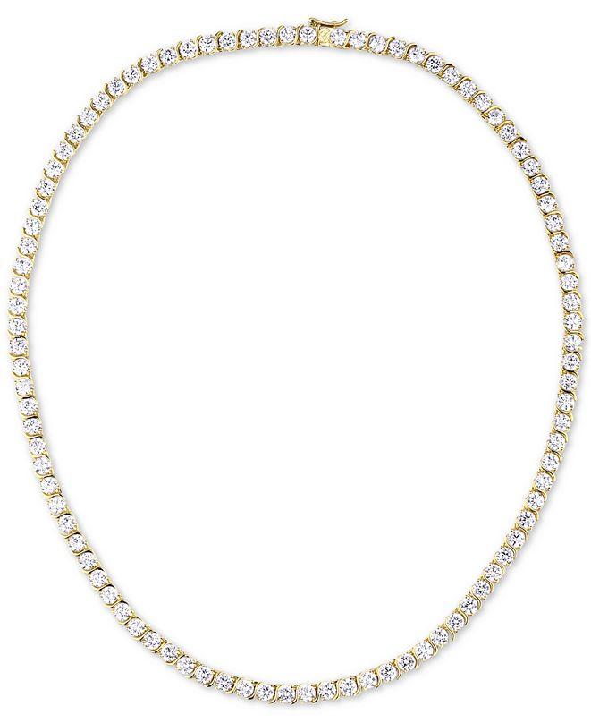 "Tiara Cubic Zirconia 18"" Tennis Necklace in Sterling Silver"