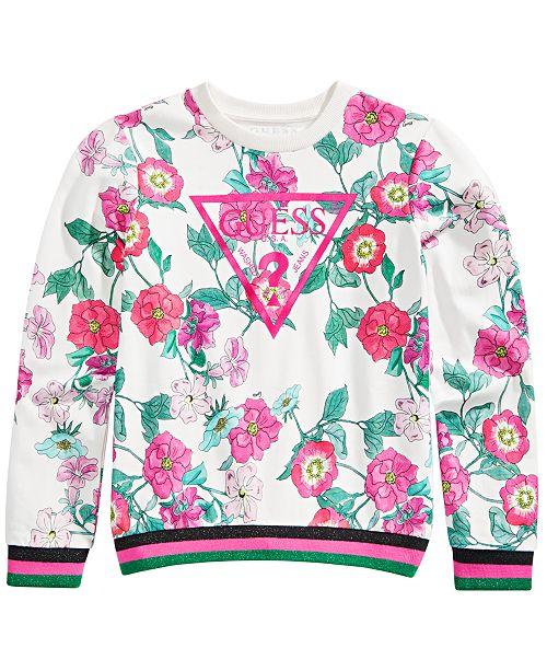 GUESS Big Girls Cotton Floral-Print Sweatshirt