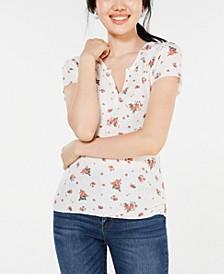 Juniors' Floral Lace-Back T-Shirt