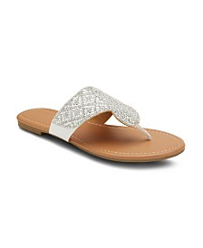 Olivia Miller Caviar and Coffee Embellished Sandals