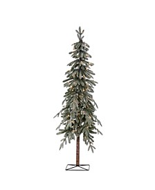 6Ft. Pre-Lit Flocked Natural Cut Alpine Tree with 100 Clear Lights