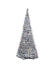 6-Foot High Pop-Up Pre-Lit Flocked Pine Tree with Holy Leaves