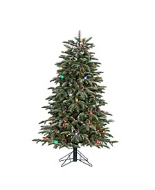 4-Foot High Natural Cut Pre-Lit Lightly Flocked Smoky Mountain Pine Tree with Pine Cone Accents