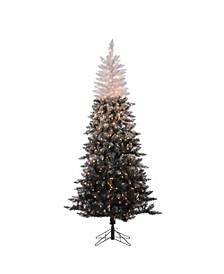 7.5-Foot High Flocked Pre-Lit Black Ombre Tree with Clear White Led Lights