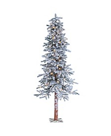 6Ft. Pre-Lit Flocked Alpine Tree with 150 clear lights