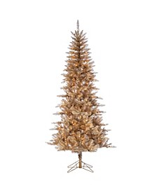 7.5-Foot High Tuscany Tinsel Pre-Lit Tree in Rose Gold with Clear White Lights