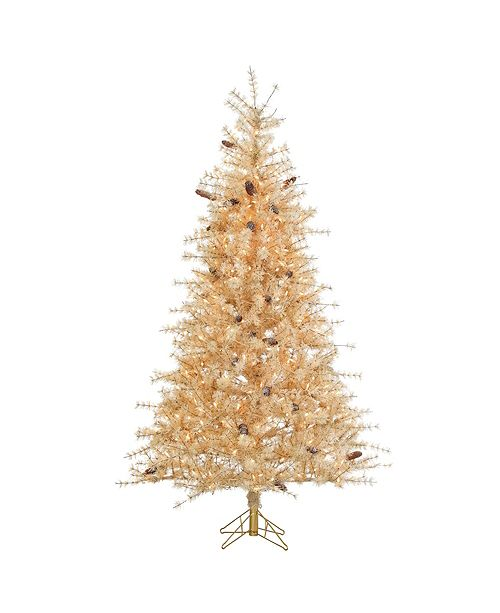 Sterling 7Ft. Frosted Buttercream Hard Needle Slim Tree with Pinecones and 400 clear lights