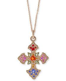 "EFFY® Multi-Gemstone 18"" Cross Pendant Necklace (3 ct. t.w.) in 14k Gold"