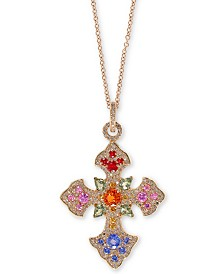 "EFFY® Multi-Gemstone 18"" Cross Pendant Necklace (3 ct. t.w.) in 14k Gold"