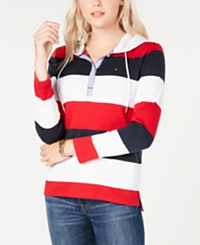 Tommy Hilfiger Cotton Colorblocked Button Hoodie, Created for Macy's