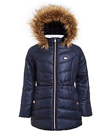 Big Girls Fur-Trim Hooded Chevron Puffer Jacket