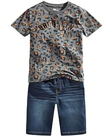 Big Boys Brooklyn Leopard T-Shirt & Keith Stretch Denim Shorts, Created for Macy's