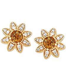 Citrine (7/8 ct. t.w.) & White Sapphire (3/8 ct. t.w.) Flower Stud Earrings in 14k Gold