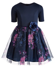 Pink & Violet Big Girls Floral-Print Ballerina Dress