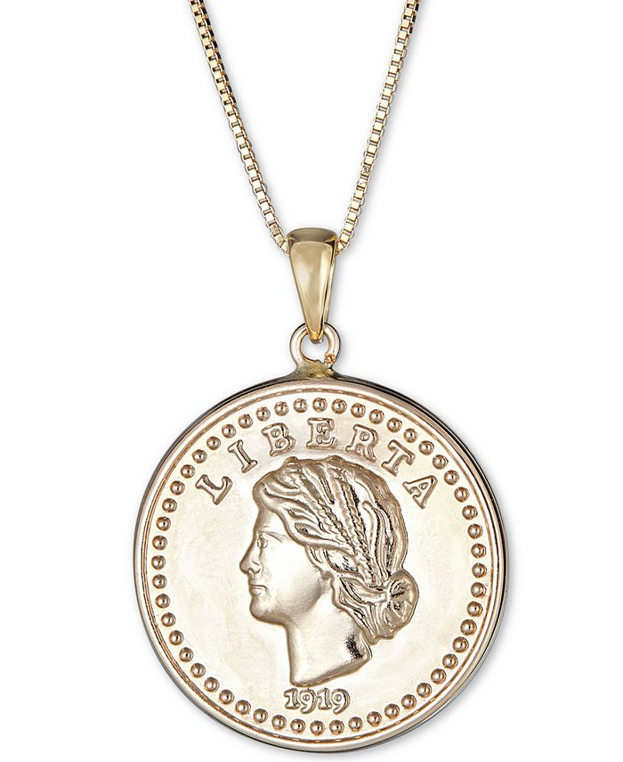 """Macy's - Coin Double-Sided 18"""" Pendant Necklace in 14k Gold"""
