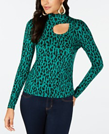 Thalia Sodi Animal-Print Cutout Turtleneck, Created for Macy's
