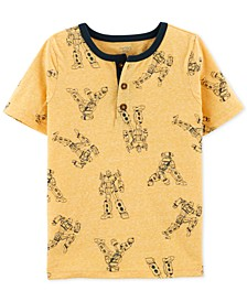 Little & Big Boys Robot-Print Henley T-Shirt