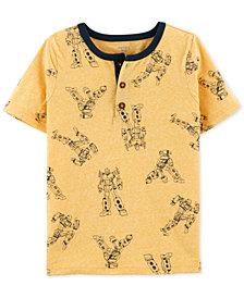 Carter's Little & Big Boys Robot-Print Henley T-Shirt