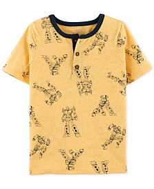 Carter's Little & Big Boys Robot-Print Henley T-Shirt