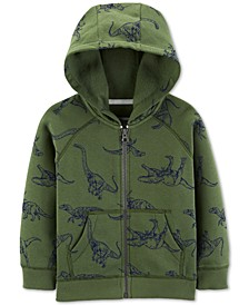 Toddler Boys Dinosaur-Print Zip-Up Fleece Hoodie