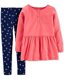 Carter's Little & Big Girls 2-Pc. Peplum Top &  Floral-Print Leggings Set