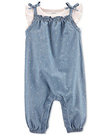 Baby Girls 2-Pc. Cotton T-Shirt & Chambray Coverall Set