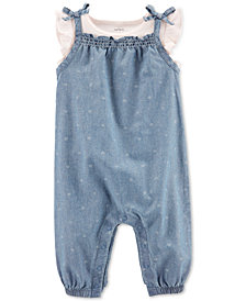 Carter's Baby Girls 2-Pc. Cotton T-Shirt & Chambray Coverall Set