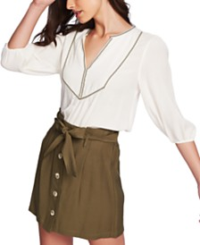 1.STATE Split Neck Embroidered Blouse