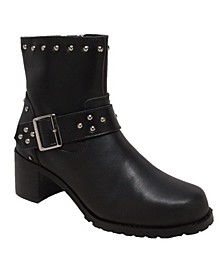 "RideTec Women's 6"" Heeled Buckle Biker Boot"