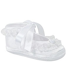 Baby Girl Satin Slipper with Lace Trim and Satin Tie